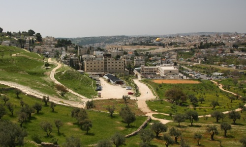 The sifting  site at Emek Tzurim National Park and the Temple Mount in the background